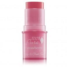100% Pure, 입술 & 볼 틴트 Lip & CheeK Tint - 쉬머리 스트로우 베리-, 0.26 oz / 7.5 g
