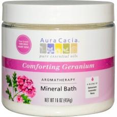 아우라카시아, 아로마테라피 미네랄 바스 (Comforting Geranium), 16 oz (454 g)
