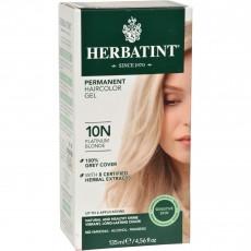 허바틴트, 퍼머넌트 허벌 헤어컬러 염색약 (10N Platinum Blonde), 4.56 fl oz (135 ml)