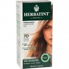 허바틴트, 퍼머넌트 허벌 헤어컬러 염색약 (7D Golden Blonde), 4.56 fl oz (135 ml)