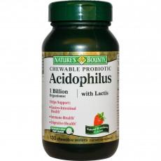 네이처스 바운티, 씹어먹는 유산균, Acidophilus with Lactis, 천연 딸기맛, 100 Wafers