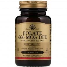 솔가, Folate 666 MCG DFE (Metafolin 400 mcg) [천연 엽산], 100 Tablets